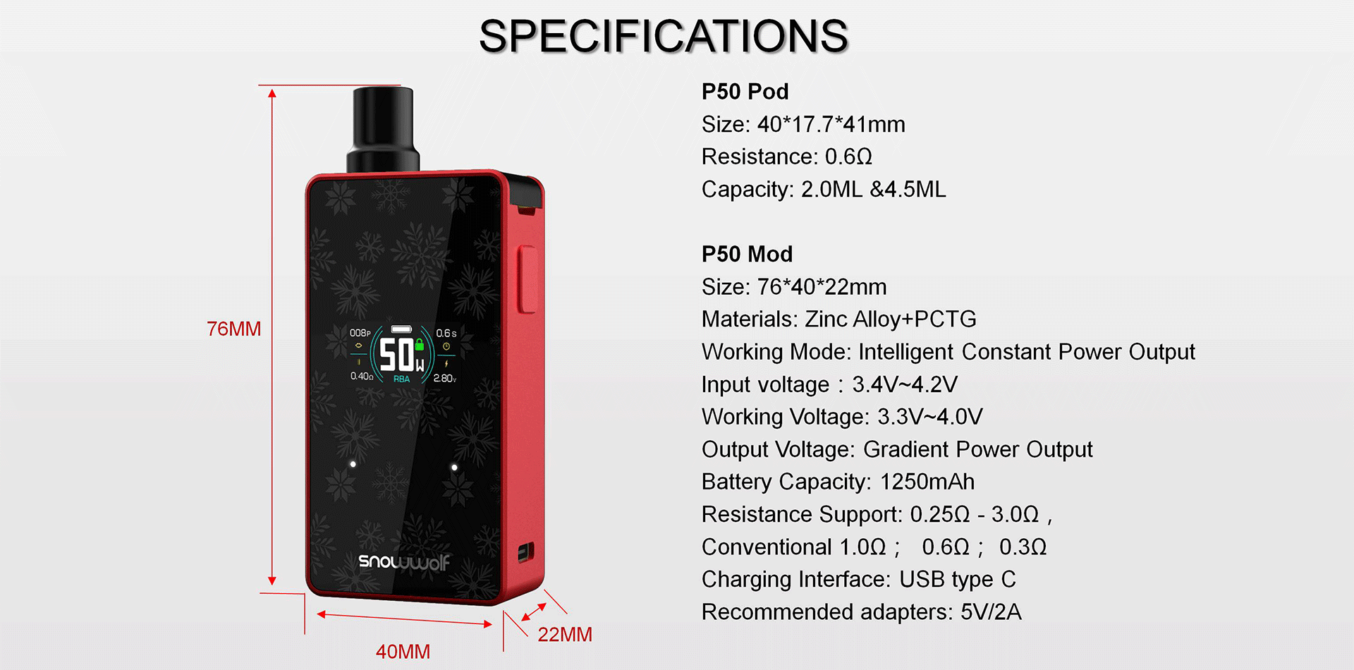 A black and red vape kit with text detailing its specifications.