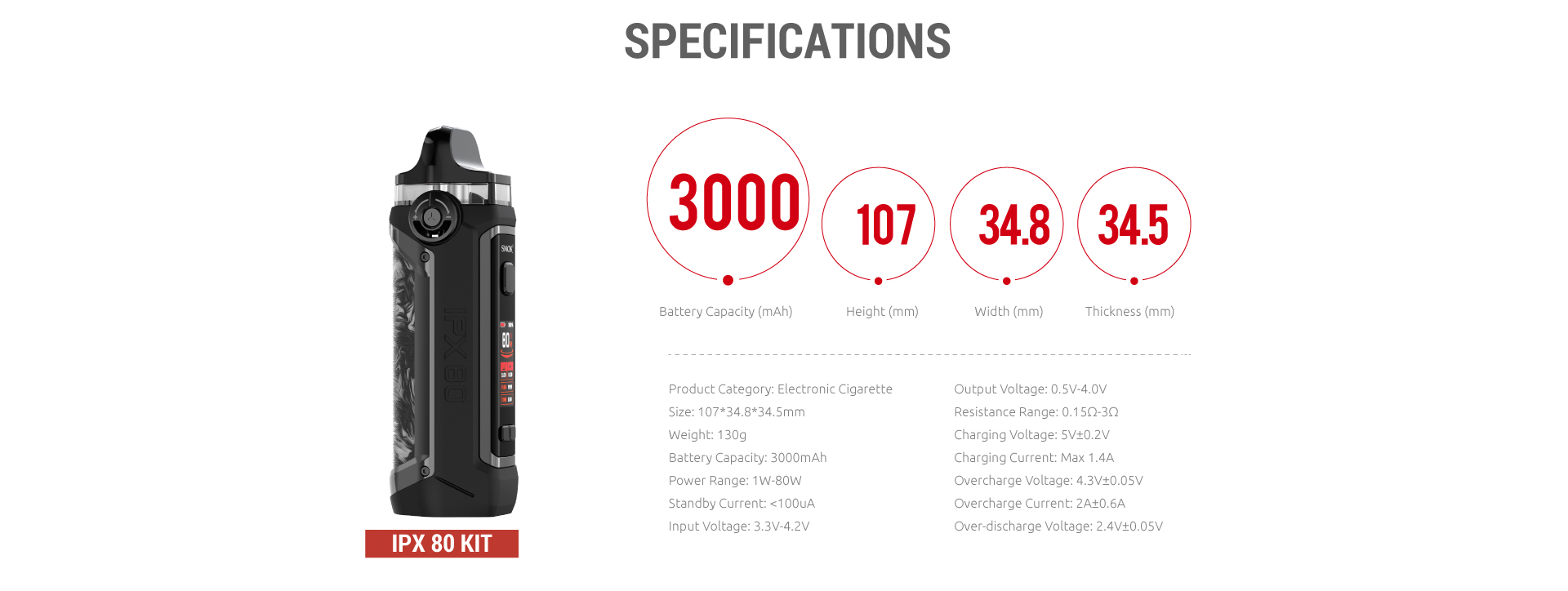 A black SMOK vape with text listing its specifications.