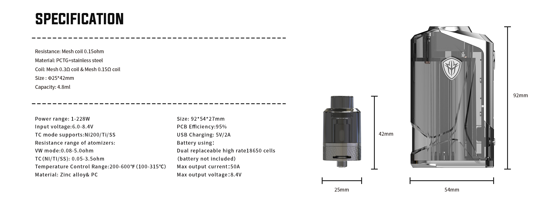 A silver Rincoe vape and tank with specs listed to the left.