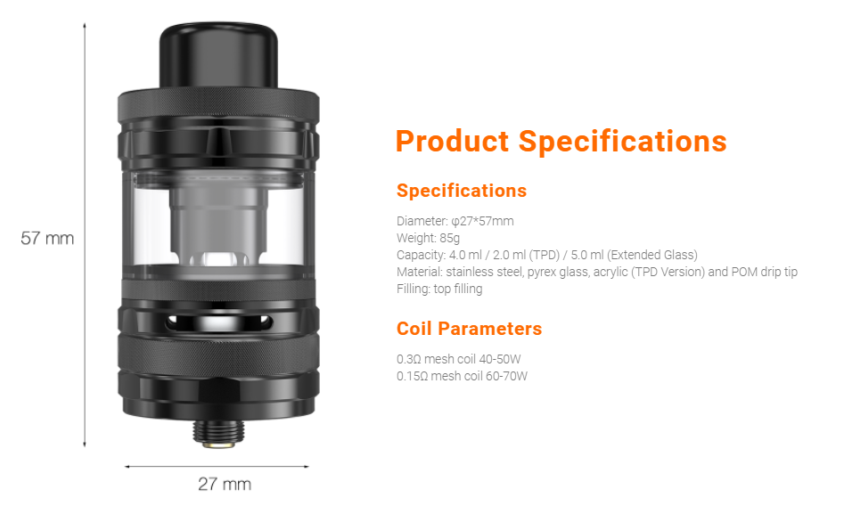 A black vape tank with specifications listed.
