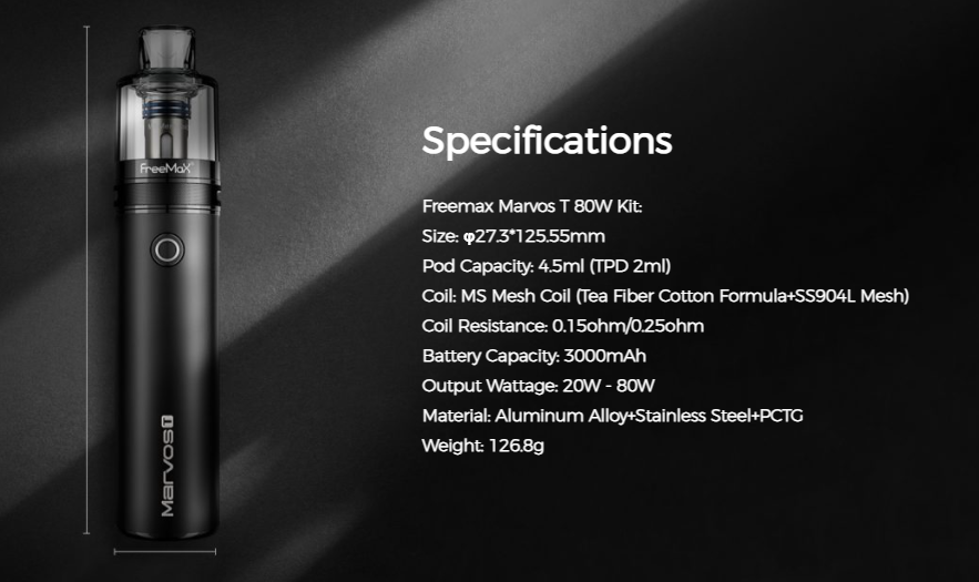 A black Freemax vape device with its specifications listed to the right.