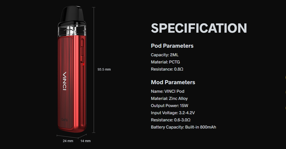 A red Vinci Pod kit against a black background with white text.