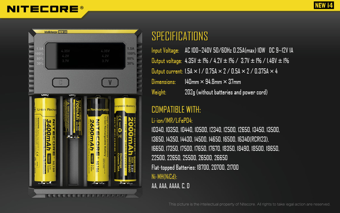 A Nitecore battery charger with yellow vape batteries and text to the right.