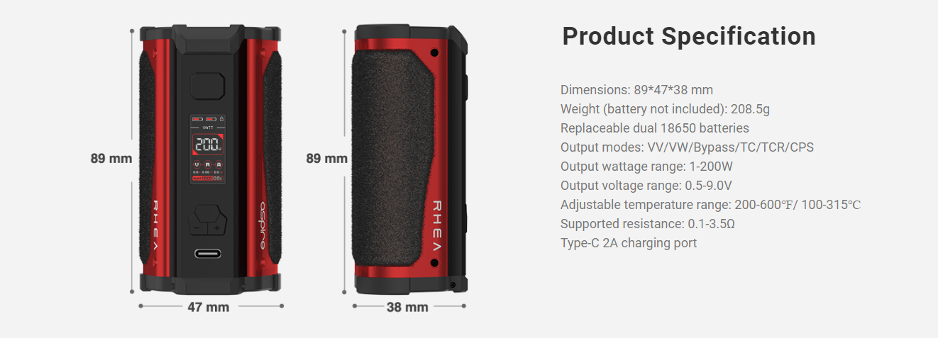 A red and black Aspire box mod seen from two angles with specs listed.