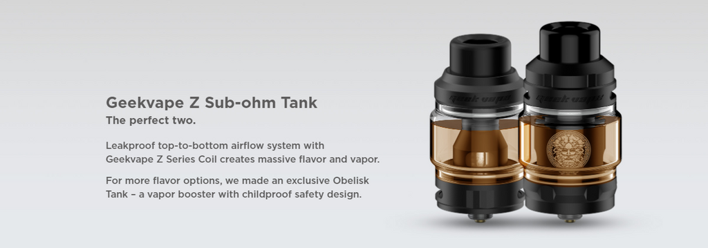 Two Geekvape Z Obelisk tanks with text to the left.
