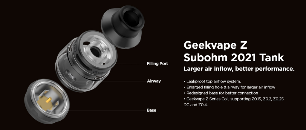 An exploded view of a  Geekvape Zeus sub-ohm vape tank.