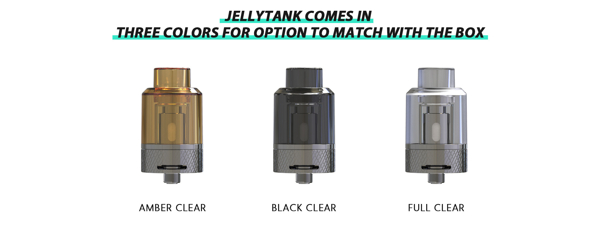 Three Rincoe vape tanks in different colors.