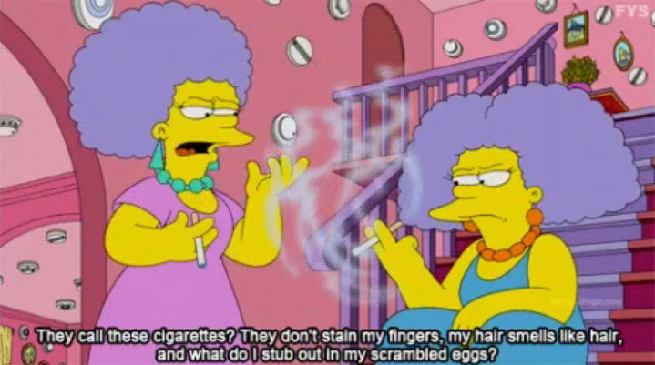 A screenshot from a Simpsons cartoon features 2 characters holding e-cigs.