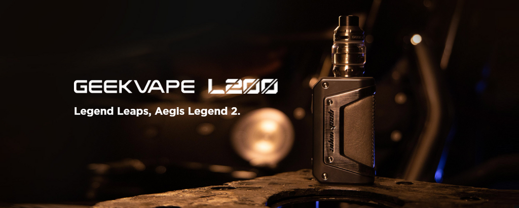 A promotional photo of the Geekvape L200 kit with text.