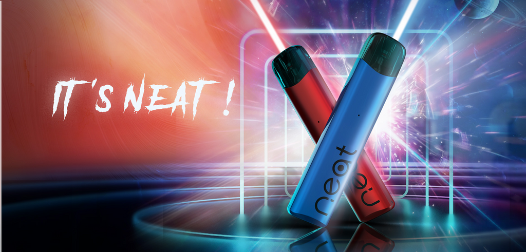 Two red and blue vapes in front of a vibrant background.