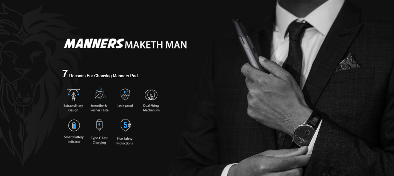 A man in a suit holds a vape pen, with text to the left.