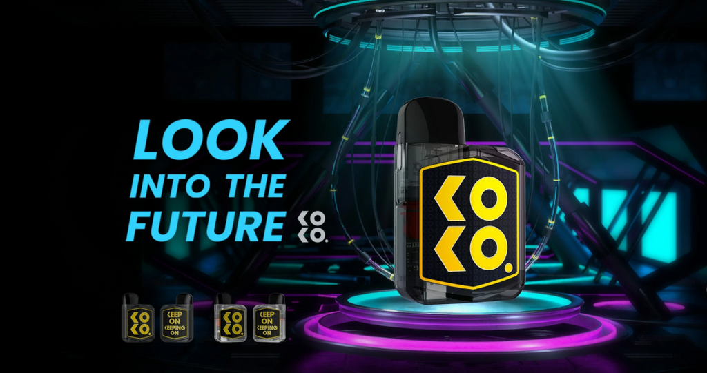 A colorful banner depicting a Uwell Koko Prime vape.