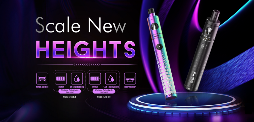 Two pen-style vape devices atop a black and purple background with text.