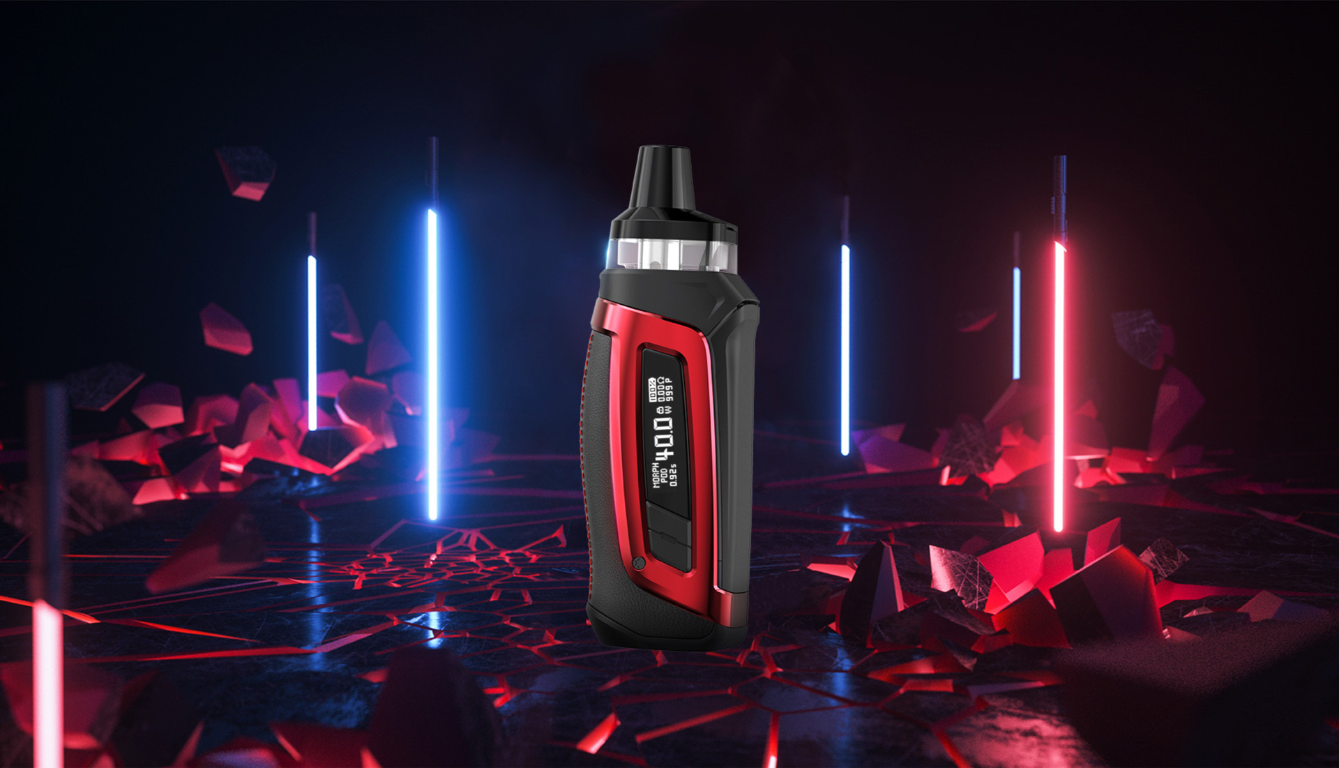 A red SMOK Morph Pod-40 set against a dark blue and red background.