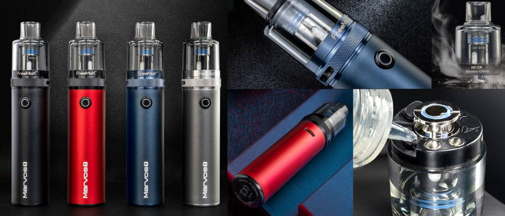 A collage of several Freemax Marvos pod devices.
