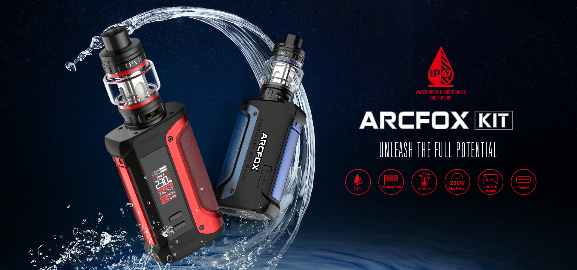 Two SMOK vape kits surrounded by a splash of water.