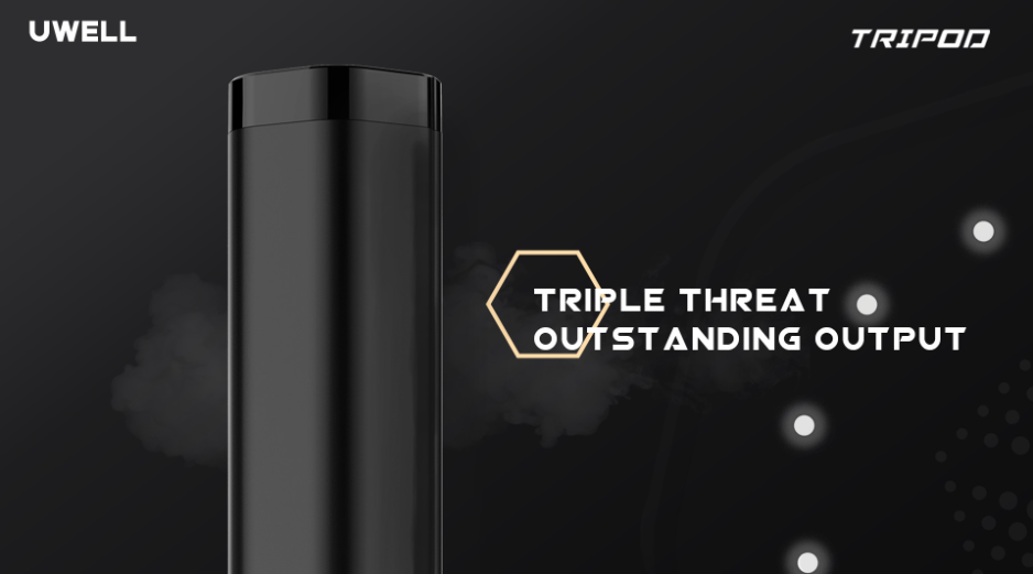 A promotional image for the Uwell Tripod vape.