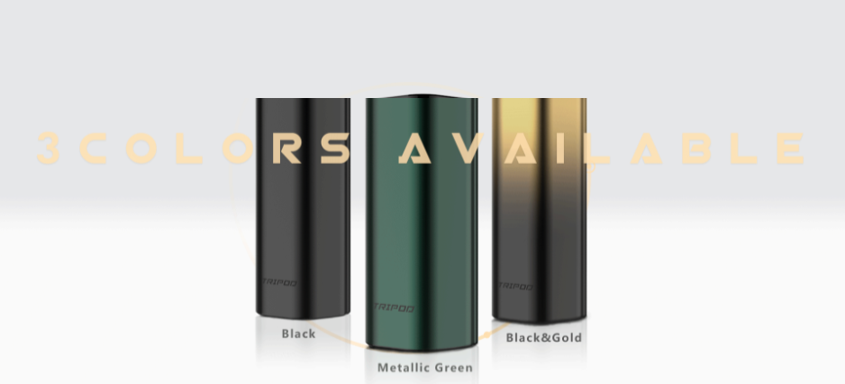 Three Uwell Tripod vapes in black, green, and gold.