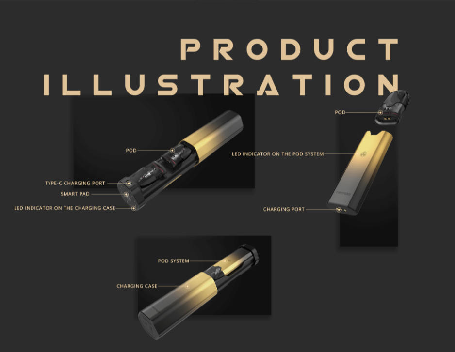 A product illustration of a Uwell vape device with text.