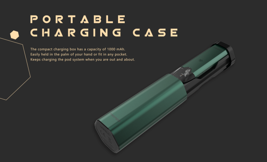 An image of the Uwell Tripod with a portable charging case.