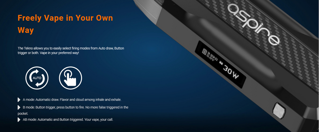 A side view of an Aspire Tekno pod device and text atop a dark blue background.