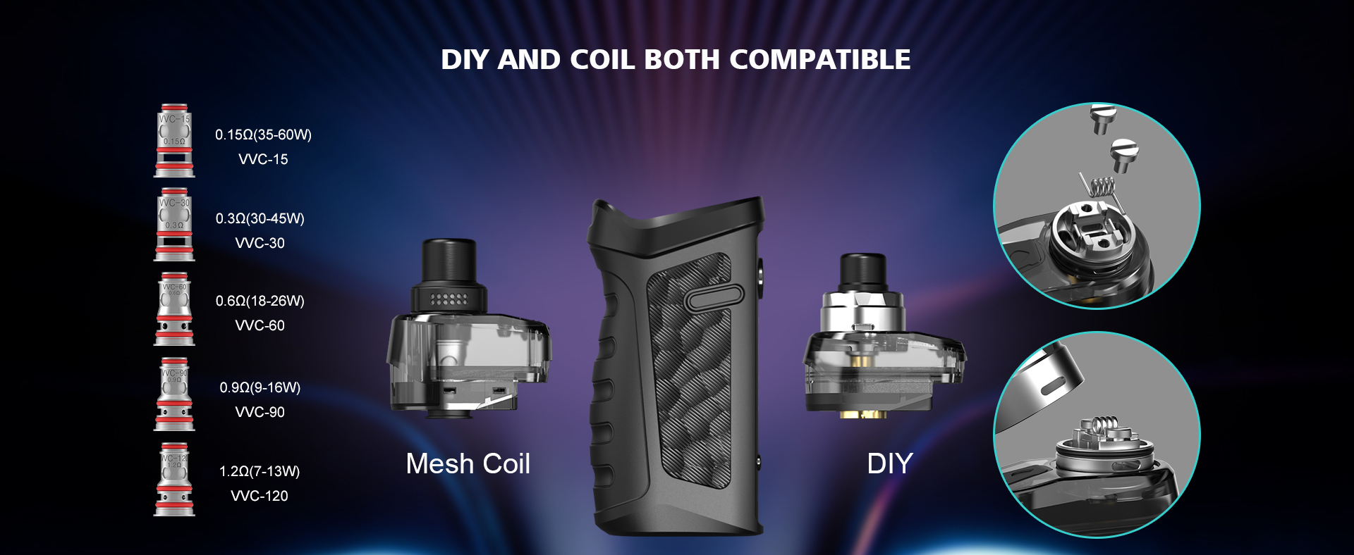 A Jackaroo device surrounded by its Vandy Vape coils and pods.