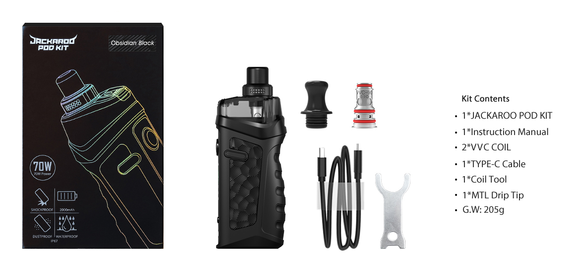 A Vandy Vape Jackaroo vape kit with all included parts displayed.