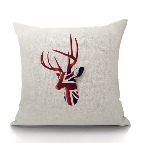 British Deer Throw Pillow (inserts included)