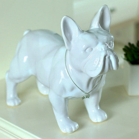 French Bulldog with Faux Silver Pendant