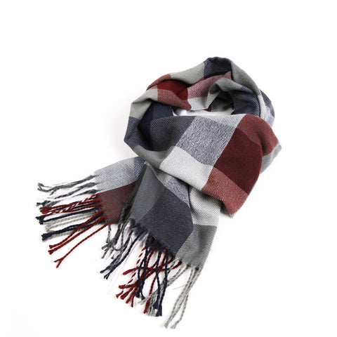 """Christoph"" Plaid Tassel Scarf"