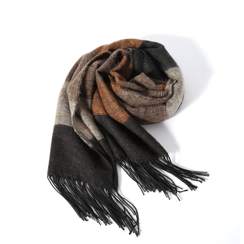 """Coffee Brown"" Tassel Scarf"