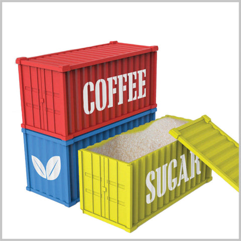 "Coffee Tea Sugar ""Shipping Containers"" - Set of Three"
