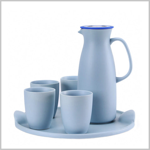 Contemporary Ceramic Pitcher and Tumbler Set