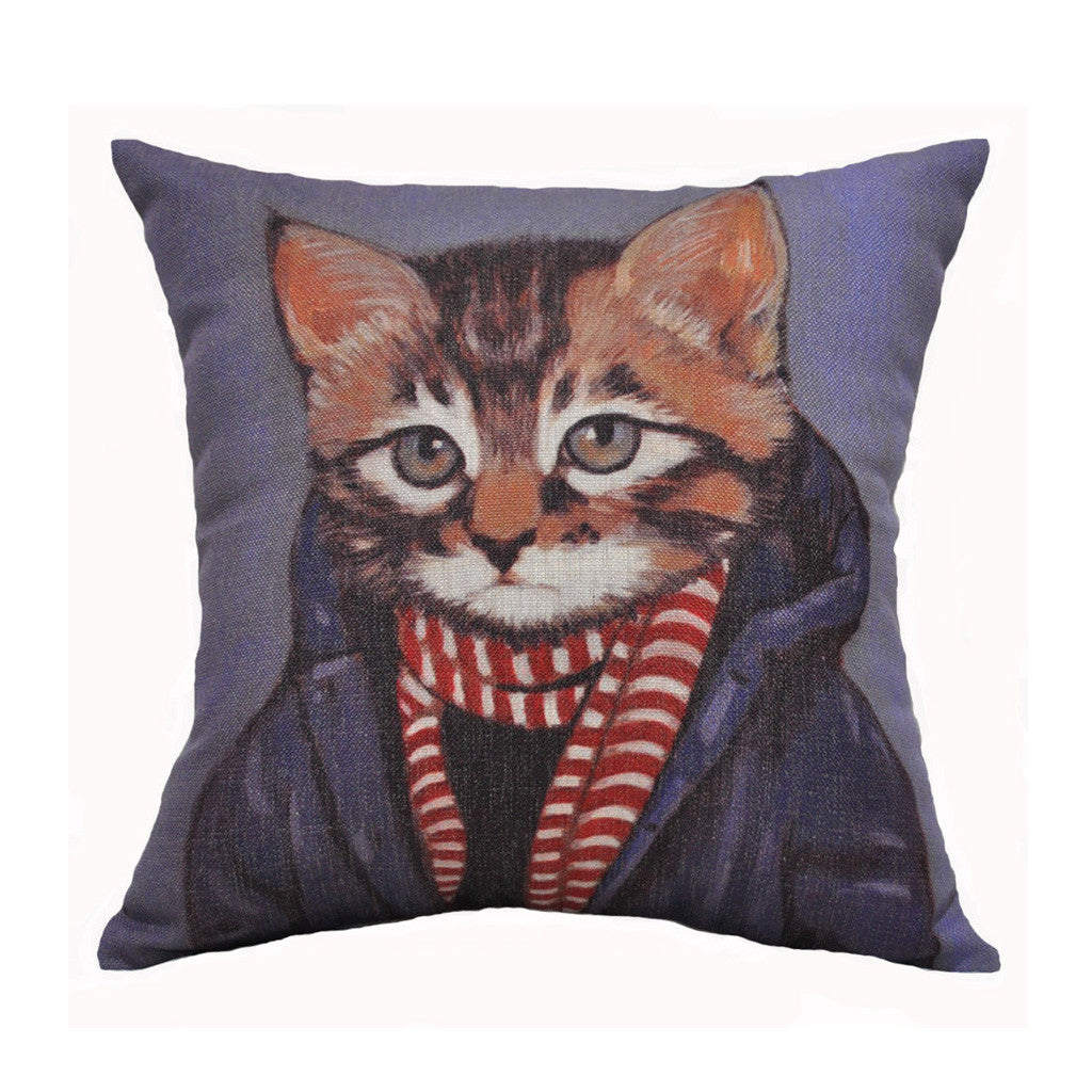 Hipster Kitten Jute Throw Pillow (inserts included)