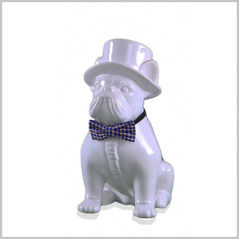 "9"" Dapper Bulldog in Houndstooth Bow Tie"