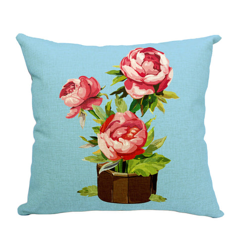 Flowery Pot Plant Throw Pillow (inserts included)