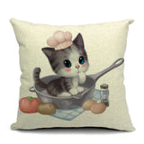 Kitten In A Pan Throw Pillow (inserts included)
