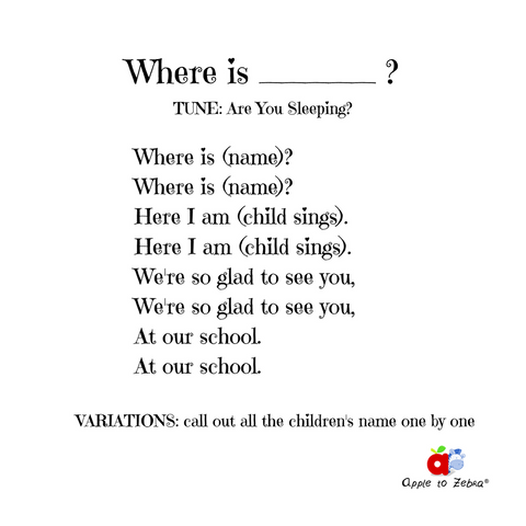 preschool song where is