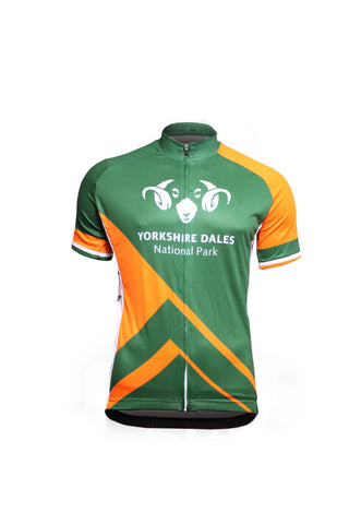 Image shows green and orange Cycle Jersey Patterned Design Front