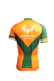 Image shows green and orange Cycle Jersey Patterned Design Back