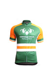 Image shows green and orange Cycle Jersey Hooped Design Front