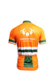 image shows green and orange Cycle Jersey Hooped Design Back