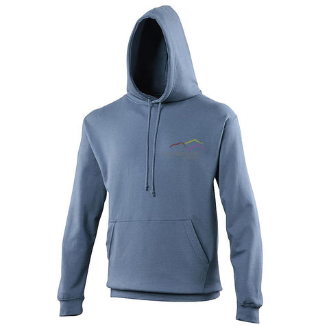 Image shows airforce blue hoodie with Three Peaks logo on left chest