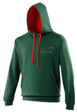 Image shows Three Peaks contrast hoodie in bottle green with fire red inside colour