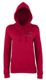 Image shows red chilli colour ladies hoodie with Three Peaks logo on left chest
