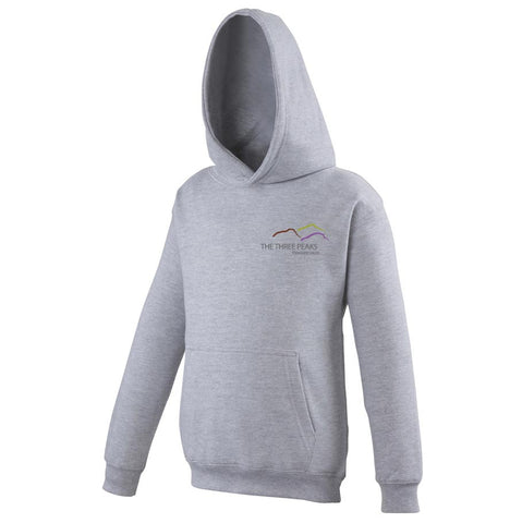 Image shows heather grey Three peaks kids hoodie with Three Peaks logo on left chest