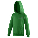 Image shows kelly green Three peaks kids hoodie with Three Peaks logo on left chest