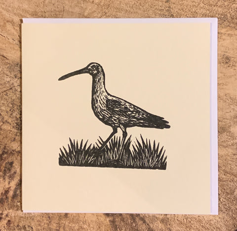 Curlew Woodblock Card (Part of the Dales Countryside Museum collection)