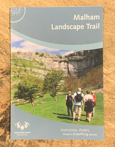 Image shows front cover of Malham Landscape Trail guide