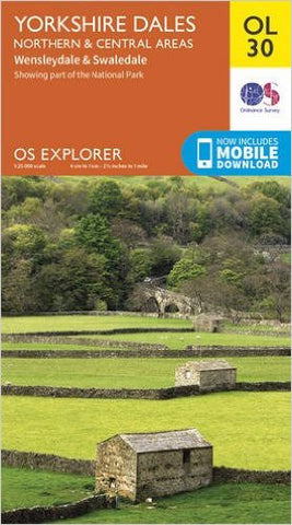 Image shows front cover of OS Explorer Map OL30 North & Central Area